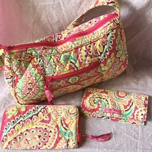 Vera bradley purse w/ wallet and checkbook cover.